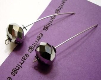 Disco Ball Silver Mirror Arc Earrings