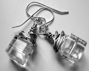 Ice Cube Earrings faceted Crystal wrapped in Sterling Silver