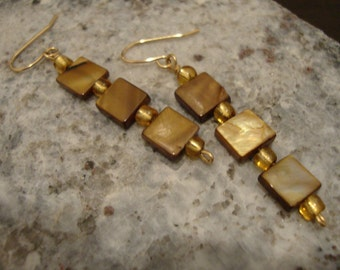 Caramel cubes 14k gold fill square shell earrings
