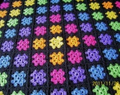 handmade granny square afghan  throw  blanket  bright colors yarn crochet