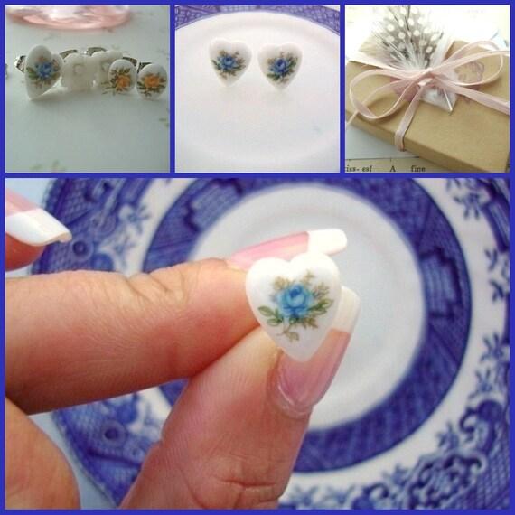 Vintage Porcelain Heart Post Earrings -Blue