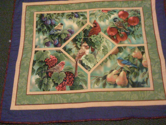reversible bird quilt /table topper/wall hanging