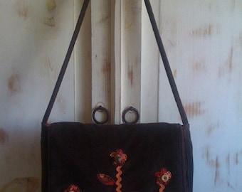 Flower Messenger Bag on Brown Corduroy