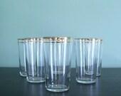 Vintage Gold-Rimmed Highball or Tumbler Glasses- Set of 6