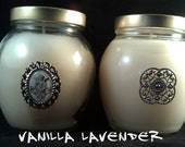 FREE SHIPPING, 2 Soy Candles, Vanilla Lavender, 12 oz Keepsake jars