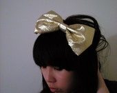 shiny metallic gold lame party bow