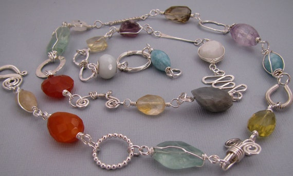 Colorful Faceted Gemstone Sterling Silver Necklace - Handmade Wire Wrapped Jewelry - Long Summer Necklace
