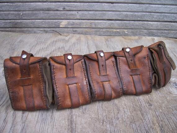 Vintage Leather Bandoleer Ammo Belt Pouch Steampunk Adventurer Bandolier Steam Punk LARP Cosplay WW2  Goggles