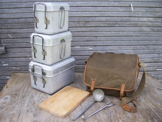 Vintage Czech Field Kitchen Set Camping Mess Kit WWII Steampunk