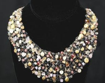 Floating Gems Necklace - PDF KNITTING PATTERN