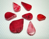Red Coral Teardrop Beads (Qty 7) - B1088