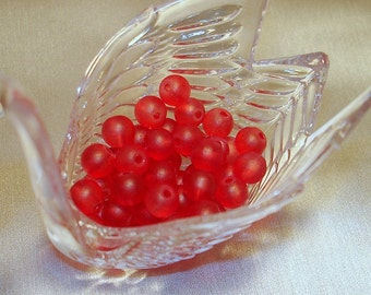 Red Frosted Round Glass Beads (Qty 50) - B301