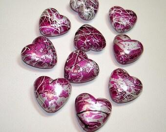 Hot Pink Acrylic Heart Beads (Qty 10) - B405