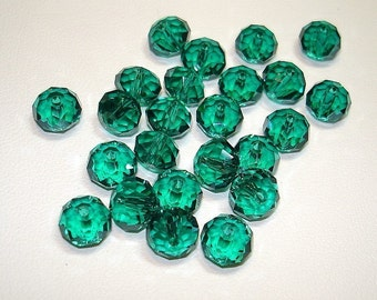 Faceted Cyan Glass Beads (Qty 24) - B412