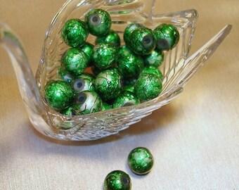Green Textured Glass Round Beads (Qty 35) - B302