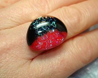 Dichroic Fused Glass Cab Ring - R26