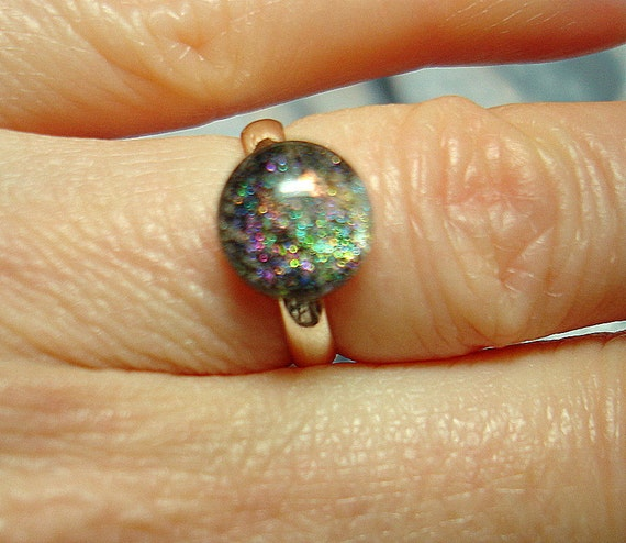 Dichroic Fused Glass Cab Ring - R29