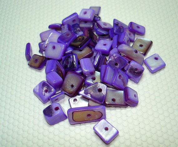 Purple Square Shell Chip Beads (Qty 65) - B980