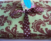 XL - Green and Brown Damask Flannel Receiving Blanket or Nursing Cover