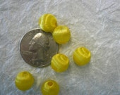 Vintage Yellow Silk Wrapped Beads NOS (25)