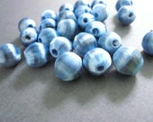 Vintage Blue Grey Silk Wrapped Beads (25)