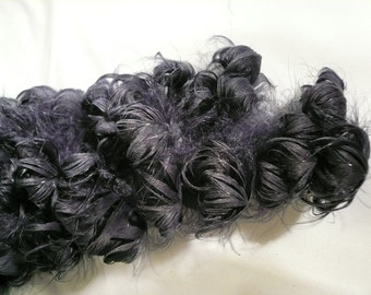 Antique Curled Feather Plume Navy