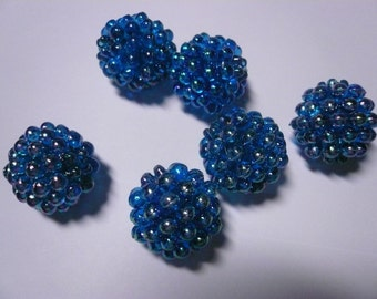 Vintage 20mm Blue Raspberry Beads (6)