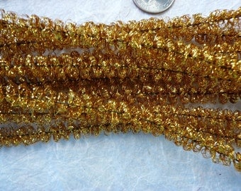Vintage 10mm Gold Curly Chenille Tinsel  (12)