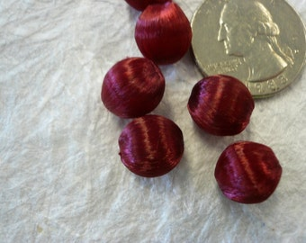 Vintage Silk Wrapped Burgandy Beads NOS (25)