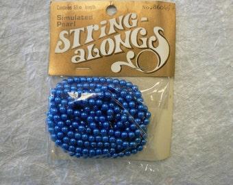 Vintage Royal Blue Faux Pearls 86049 4mm NOS