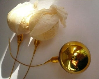 Vintage Gold Glass Balls on Wire Stems (3)