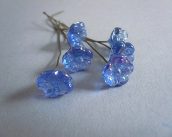 Vintage Blue Pressed Glass Flower on Wires Head Pins (6)