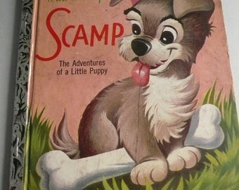 Walt Disneys Scamp The Adventures of a Little Puppy Vintage Little Golden Book First Edition