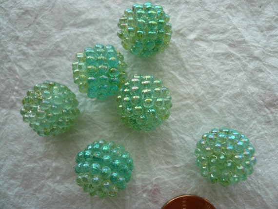 Vintage 15mm Raspberry Beads Pale Blue Green (6) NOS