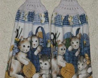 Kittens and Yarn Hanging Hand Towels Set of 2