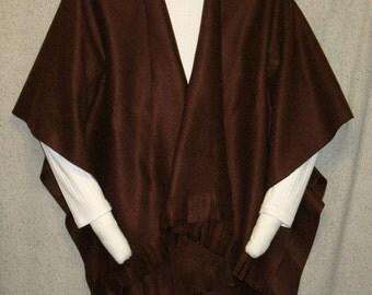 CLEARANCE:  Chocolate Brown Fleece Poncho-Shawl / Cape / Shawl