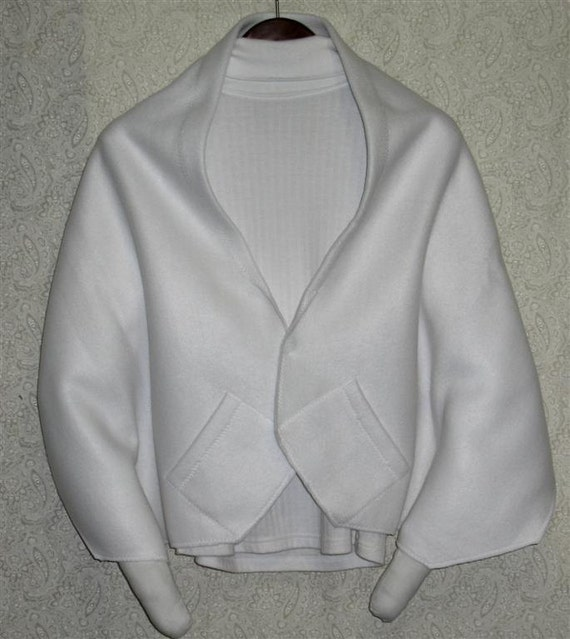 Knitting Pattern For Shawl Bed Jacket : White Shawl Bed Jacket or Reading Shawl Cold Office / Warm