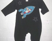 black retro rocket onesie