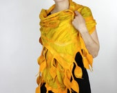 Leaf Nuno Felted Scarf Spring Summer Yellow New Collection 2011 - available