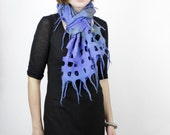 Nuno Felted Scarf  The Grid blue pastel green