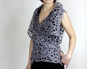 felted vest clothing grey lacy and airy