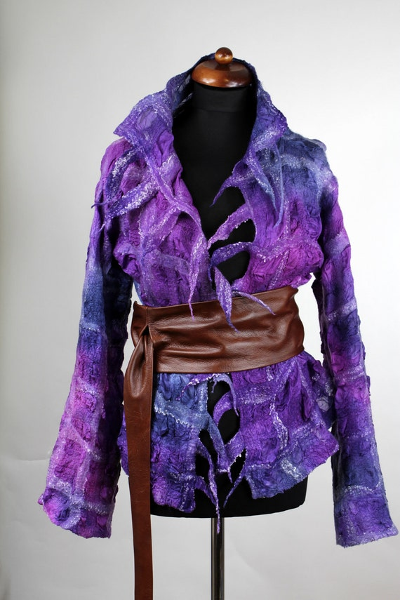 REDUCED felted jacket nuno violet magenta and blue