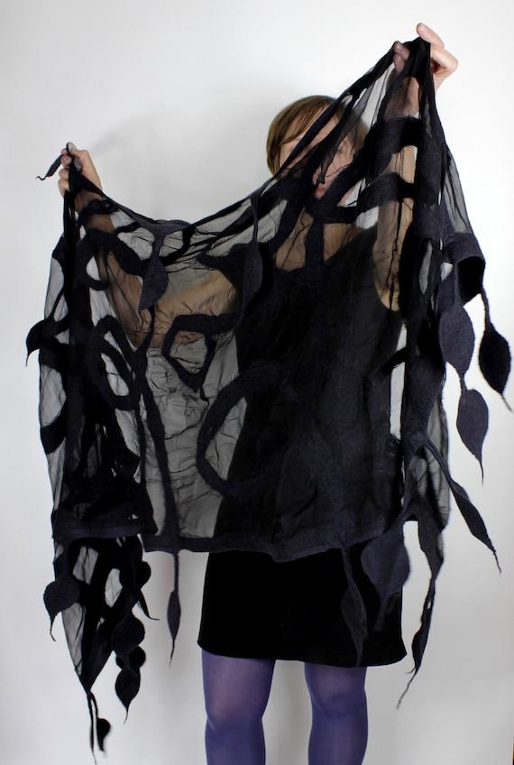 Nuno felted shawl wrap handmade silk black