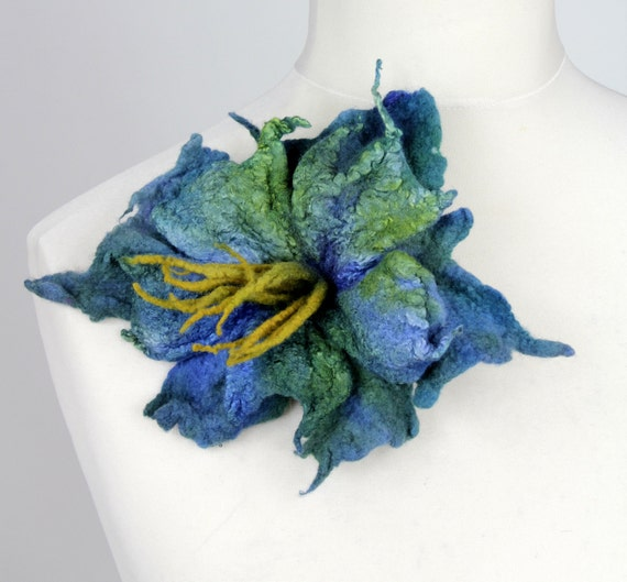 Felted flower brooch pin green blue saturated