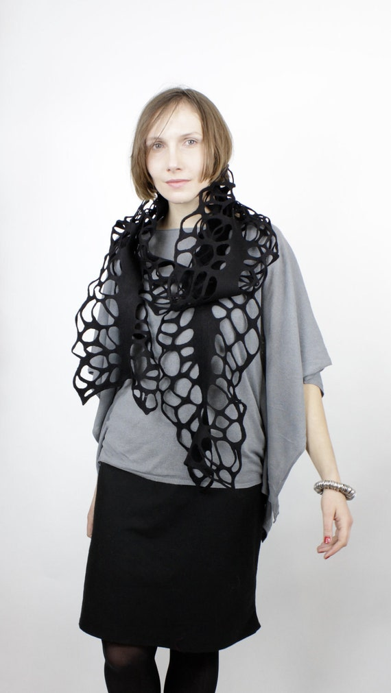 Felted scarf lacey loads of holes decorative black