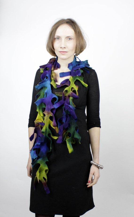 felted wool shawls felting handmade gift felted scarf violet blue pastel - boa - antler