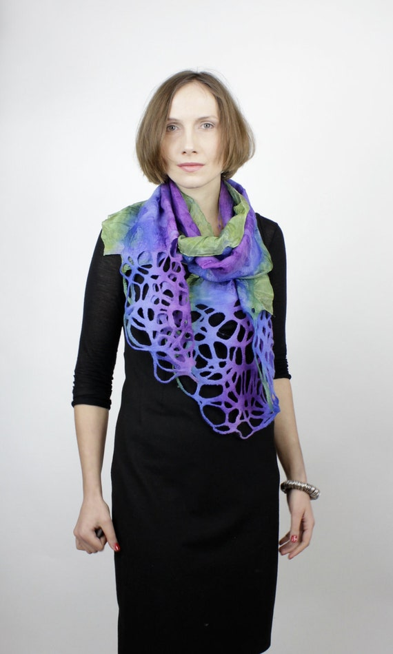 RESERVED Felted scarf with lace violet  blue green best seller