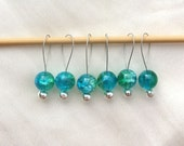 Six Blue and Green Glass Bead Snag Free Stitch Markers - UK Seller