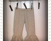 Ruffled Knit Leggings in Oatmeal