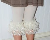 Double Ruffle Capri Lace Footless Tights